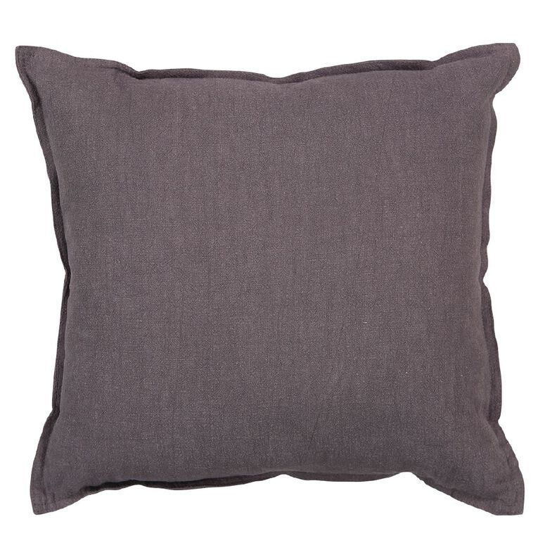 Living & Co Linen Rich Cushion Charcoal 50cm x 50cm, Charcoal, hi-res image number null