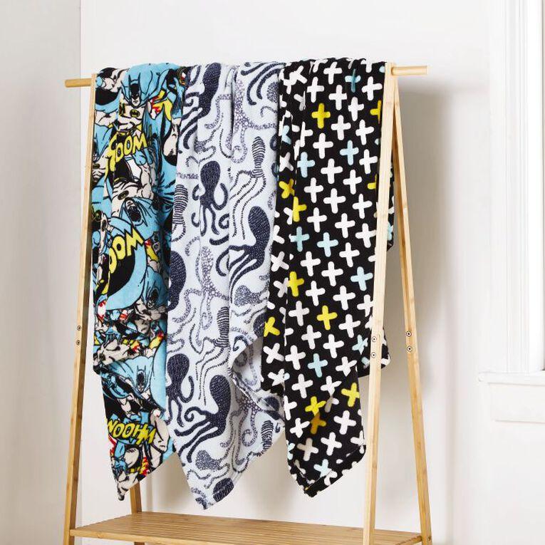 Living & Co Kids Throw Coral Fleece Crosses Black 127cm x 152cm, Black, hi-res