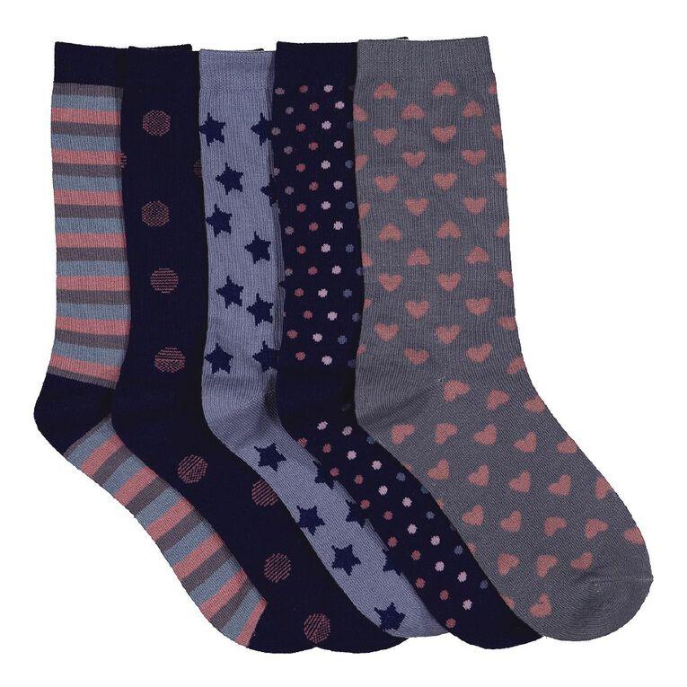 H&H Women's Crew Socks 5 Pack, Navy S21 HAZY, hi-res