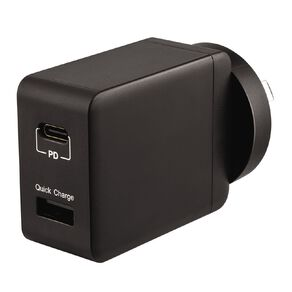 Tech.Inc USB-C and USB-A 18W Dual Wall Charger Black