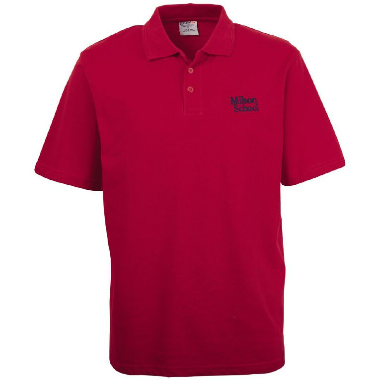 Schooltex Milson Short Sleeve Polo with Embroidery, Red, hi-res