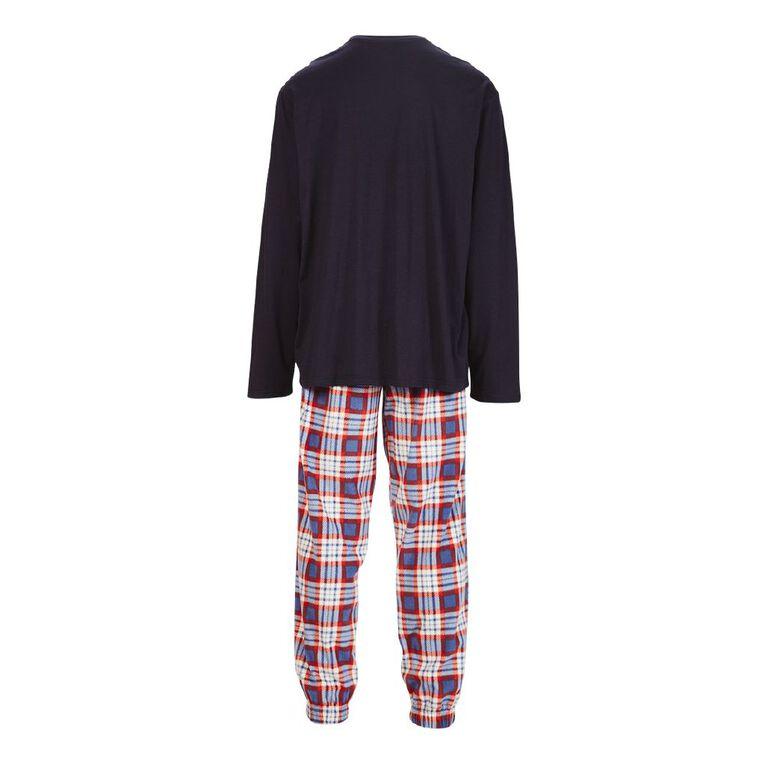 H&H Men's Knit Fleece Pyjama Set, Navy, hi-res