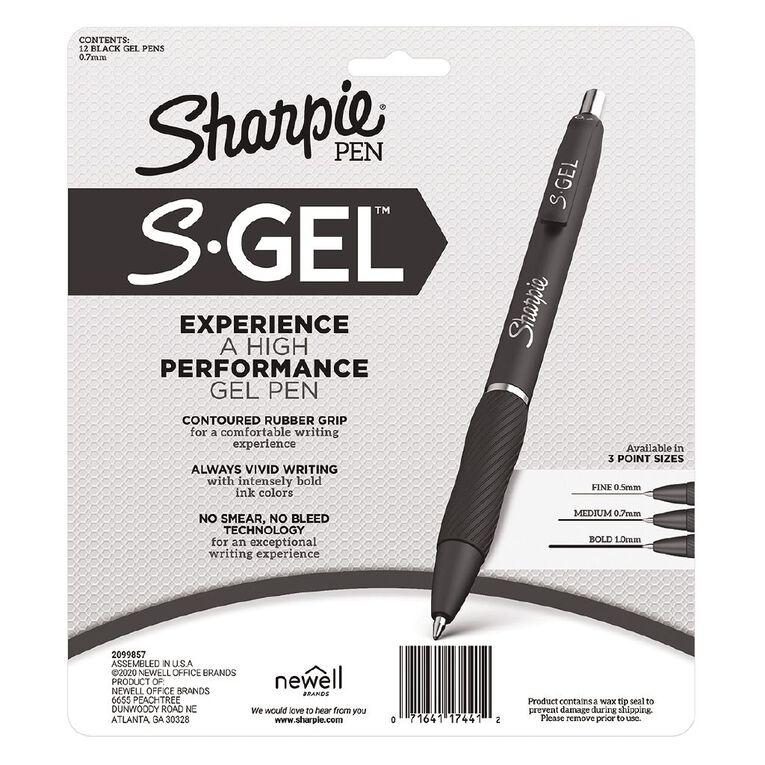 Sharpie Gel Retractable 0.7mm Gel Pen Black - Pack of 12, , hi-res