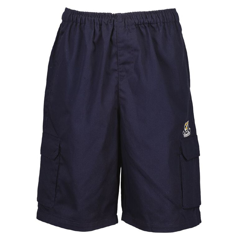 Schooltex Onewhero Area School Drill Shorts with Embroidery, Navy, hi-res