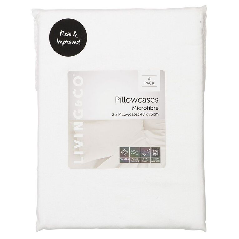 Living & Co Pillowcase Standard Microfibre 2 Piece White 48cm x 73cm, White, hi-res