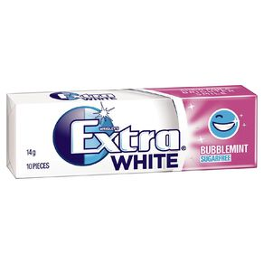 Extra White Bubblemint Chewing Gum Sugar Free 10 Piece 14g