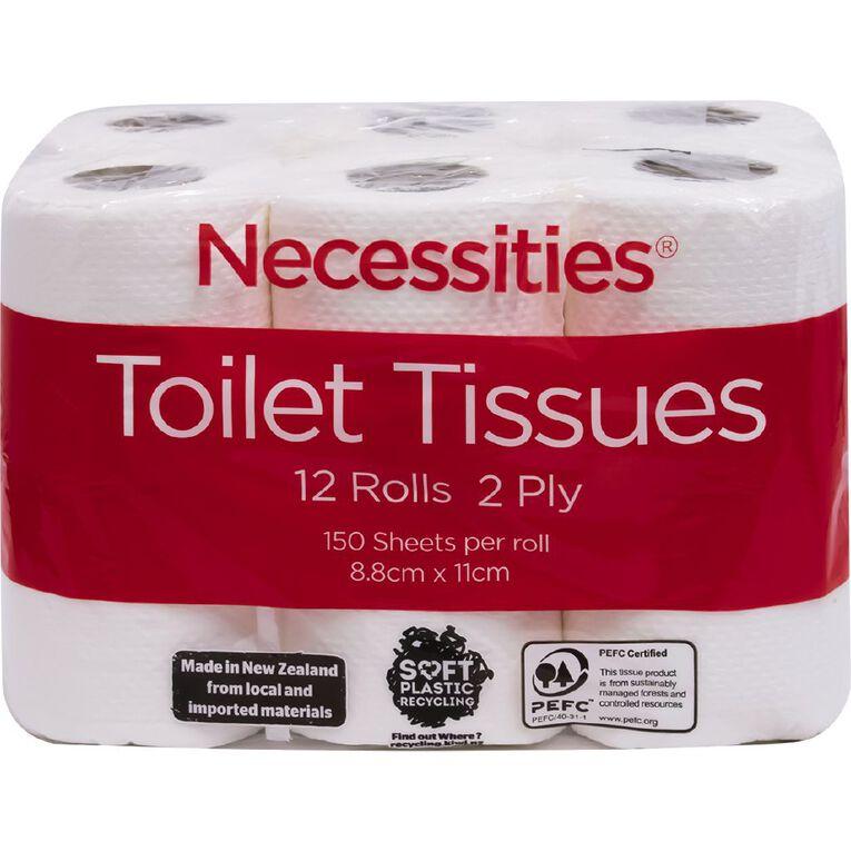 Necessities Brand Toilet Tissue White 150 Sheet 12 Pack, , hi-res