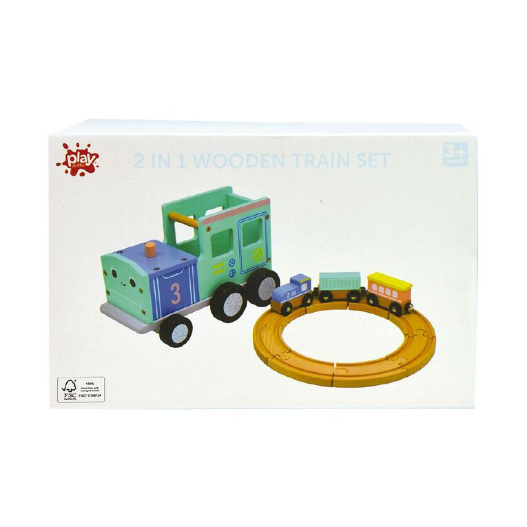 Play Studio 2 In 1 Wooden Train Set, , hi-res