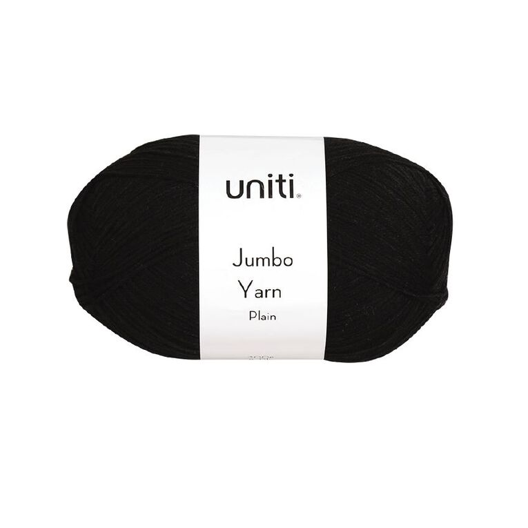 Uniti Yarn Jumbo 8 Ply 300g Black, , hi-res