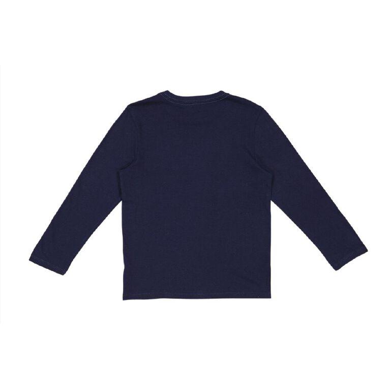 Young Original Boys' Long Sleeve Print Tee, Blue Dark, hi-res