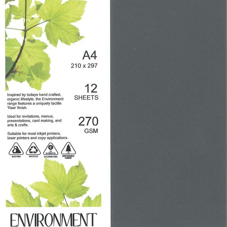 Direct Paper Enviro Board 270gsm 12 Pack Wrought Iron Grey A4, , hi-res