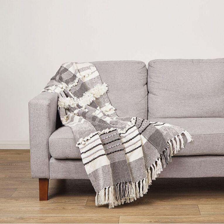 Living & Co Cotton Woven Throw White 127cm x 152cm, White, hi-res