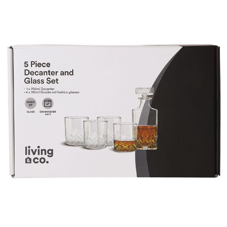 Living & Co Decanter and Glass Set Clear, , hi-res