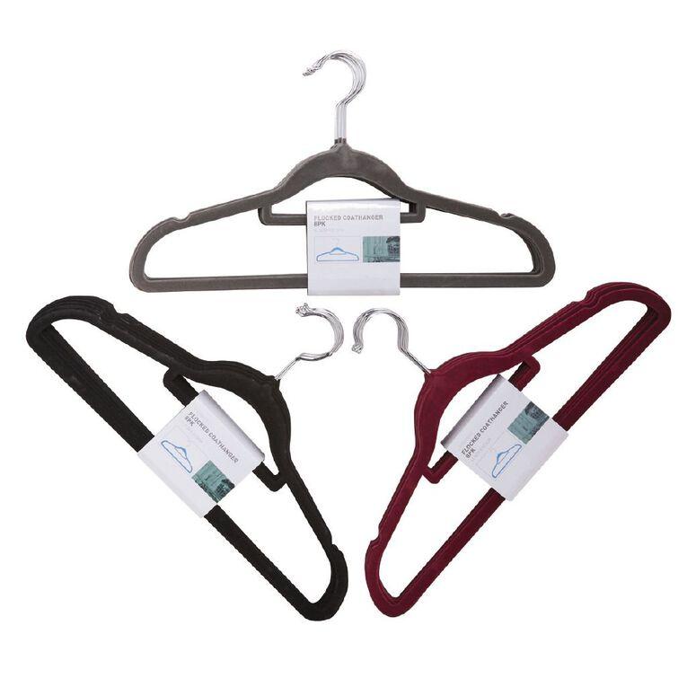Living & Co Flocked Coat Hangers Assorted 8 Pack, , hi-res