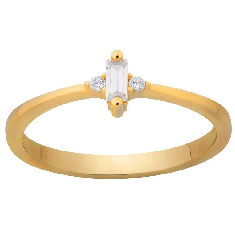 9ct Gold CZ Bagette Ring, Yellow Gold, hi-res image number null