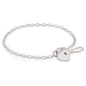 Sterling Silver Puff Heart Padlock Bracelet