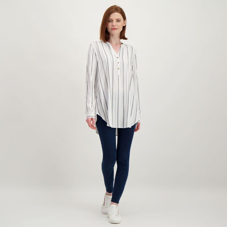 H&H Women's 1/4 Placket Shirt, White, hi-res