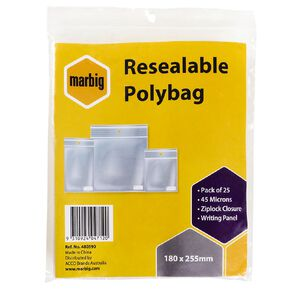 Marbig Resealable Polybags 180x255mm w/writing panel 25Pk