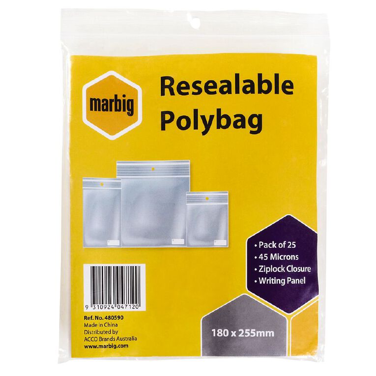Marbig Resealable Polybags 180x255mm w/writing panel 25Pk, , hi-res