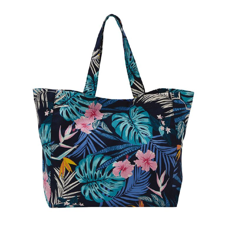 H&H Canvas Tote Beach Bag, Navy, hi-res