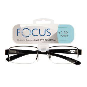 Focus Reading Glasses Half Eye Gunmetal 1.50