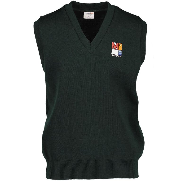 Schooltex Menzies College Wool Vest with Embroidery, Bottle Green, hi-res