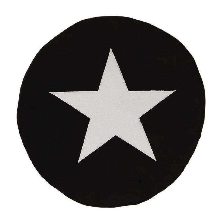 Living & Co Kids Floor Cushion Star Black/White 60cm x 60cm, , hi-res