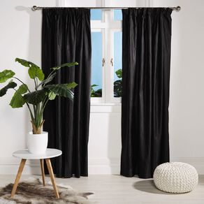 Living & Co Swirl Curtains Black 150-230cm Wide/160cm Drop