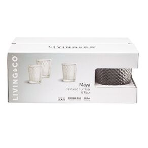 Living & Co Maya Textured Double Old Fashioned Glass 6 Pack 300ml