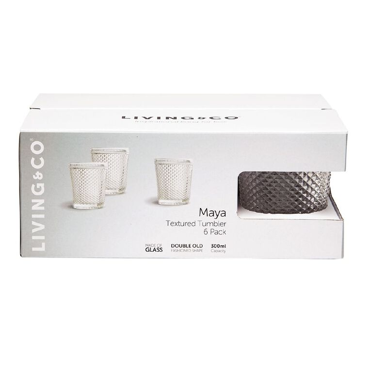 Living & Co Maya Textured Double Old Fashioned Glass 6 Pack 300ml, , hi-res
