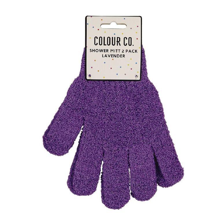 Colour Co. Shower Mitt Lavender 2 Pack, , hi-res