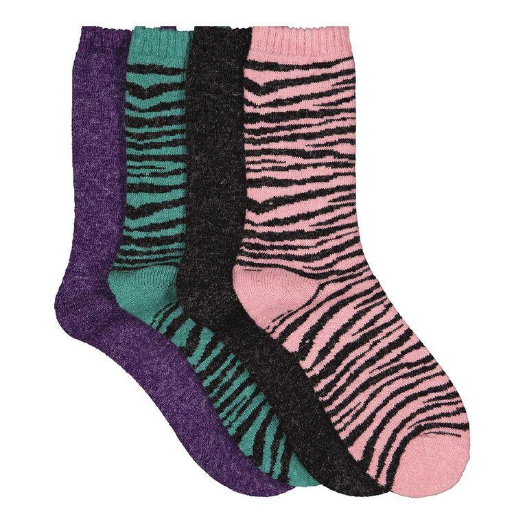H&H Girls' Home Socks 4 Pack, Pink Mid, hi-res