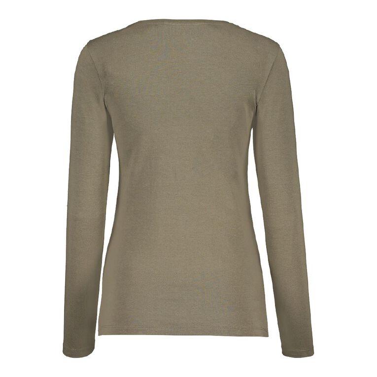 H&H Long Sleeve Scoop Neck Top, Khaki, hi-res
