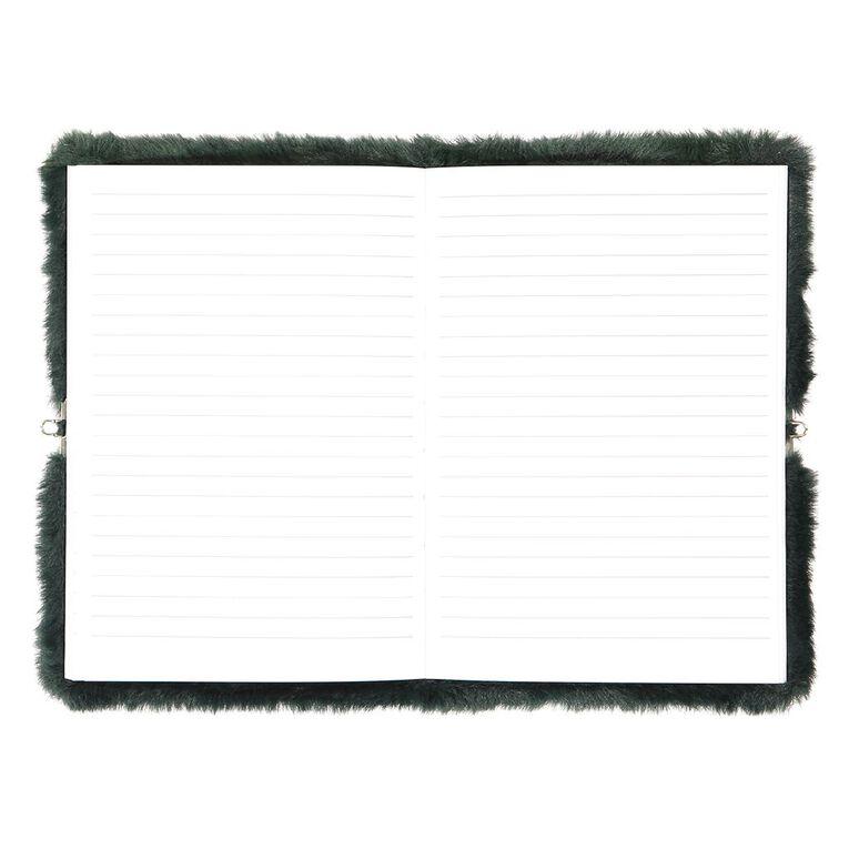 Kookie Chomp Fur Notebook With Lock Dark Green A5, , hi-res