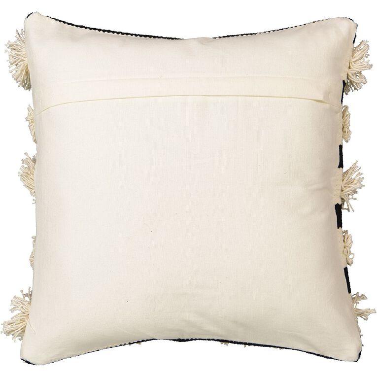 Living & Co Cushion Luxe Tufted Stripe Black 45cm x 45cm, Black, hi-res