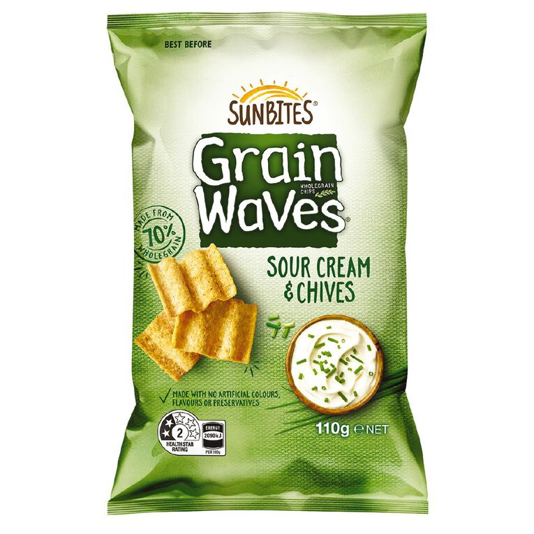 Sun Bites Grain Waves Sour Cream & Chives 110g 110g, , hi-res