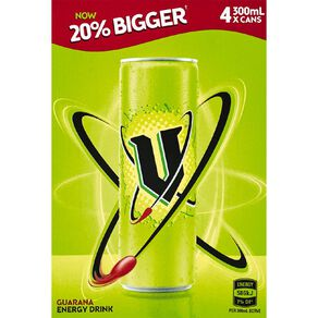 V Energy Drink Green Can 300ml 4 Pack