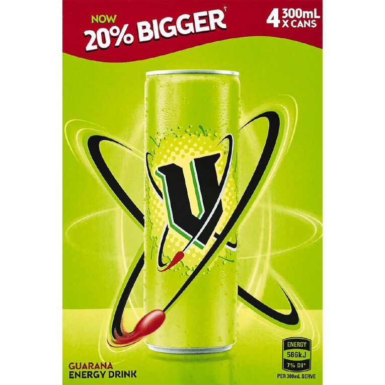 V Energy Drink Green Can 300ml 4 Pack, , hi-res