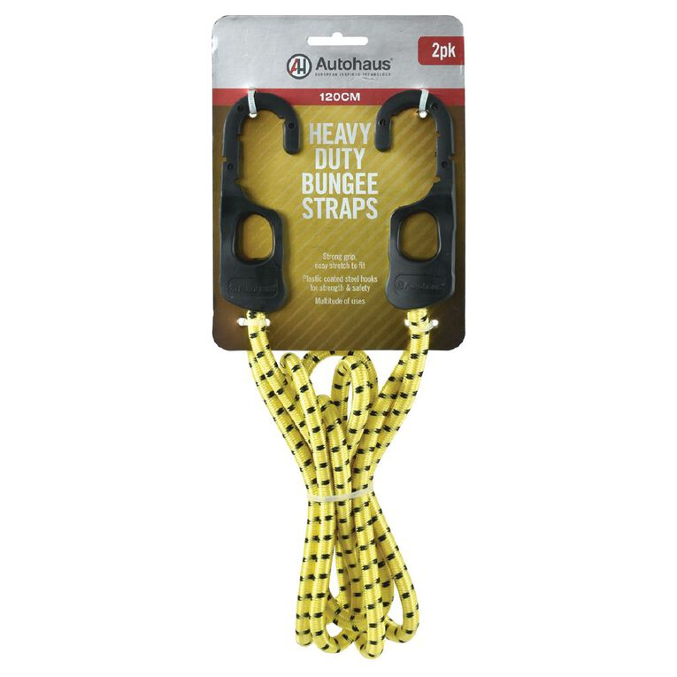 Autohaus Heavy Duty Bungee Strap 120cm Yellow 2 Pack, , hi-res