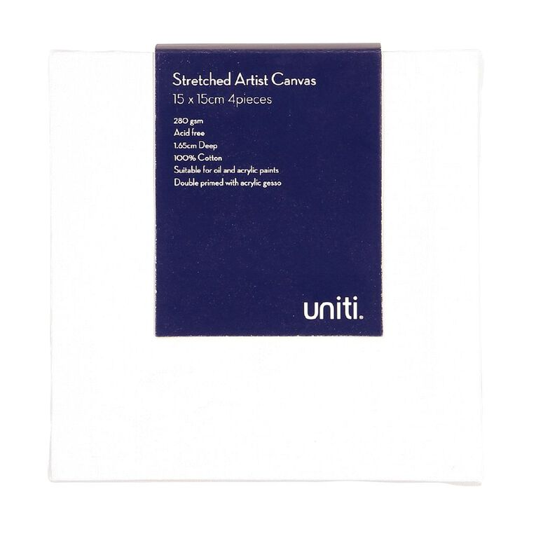 Uniti Blank Canvas 280gsm 6in x 6in 4 Pack, , hi-res