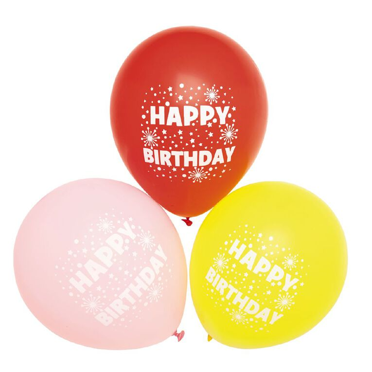 Party Inc Balloons Printed Happy Birthday 25cm 12 Pack, , hi-res