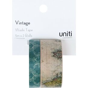 Uniti Washi Tape 2 Pack Vintage World Map