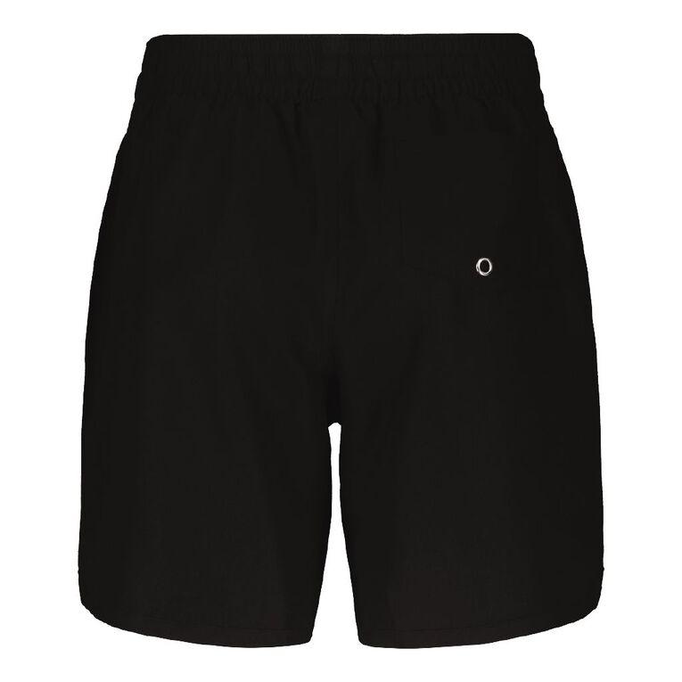 H&H Knee Length Elastic Waist Boardshorts, Black, hi-res