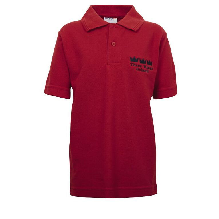 Schooltex Three Kings Short Sleeve Polo with Embroidery, Red, hi-res