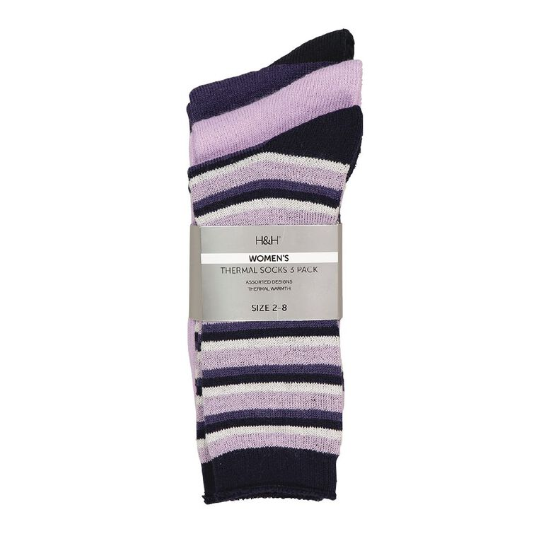 H&H Women's Thermal Socks 3 Pack, Purple Mid, hi-res