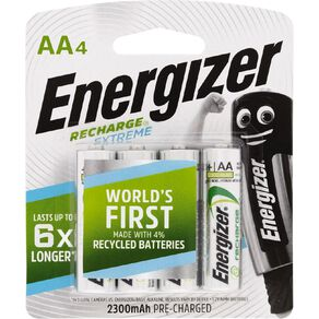 Energizer Rechargeable Batteries NiMH AA 4 Pack