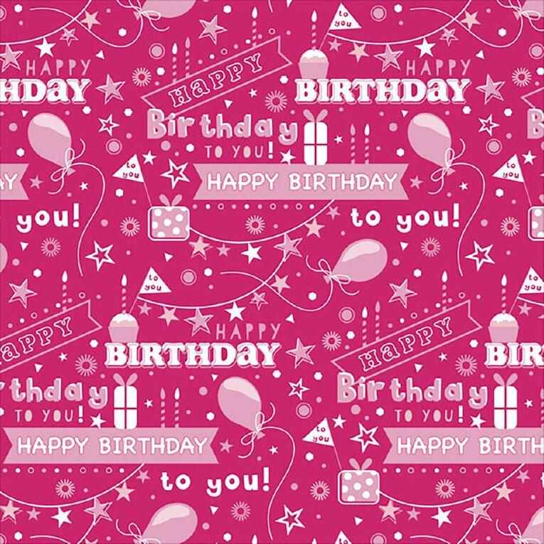 John Sands Roll Wrap Pink Happy Birthday, , hi-res