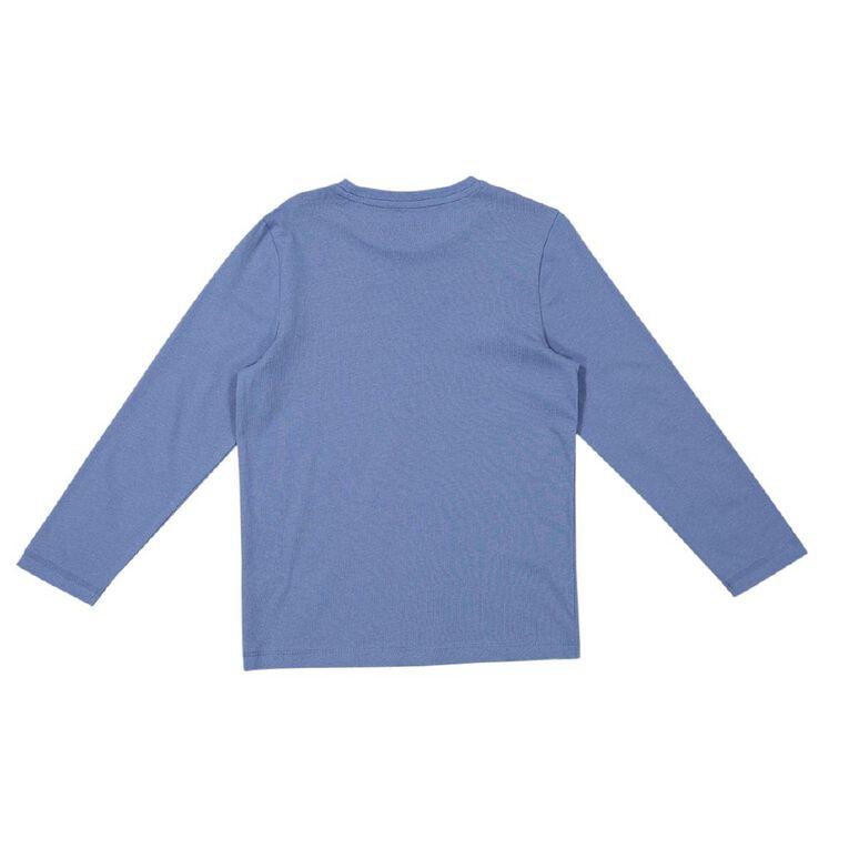 Young Original Long Sleeve Print Tee, Blue, hi-res