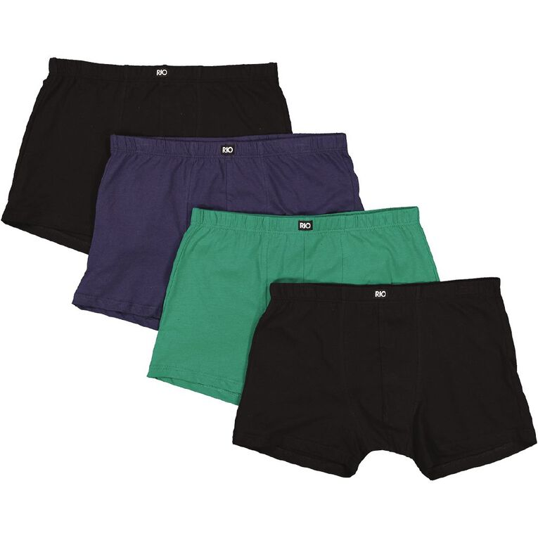 Rio Men's Trunks 4 Pack, Green/Black, hi-res