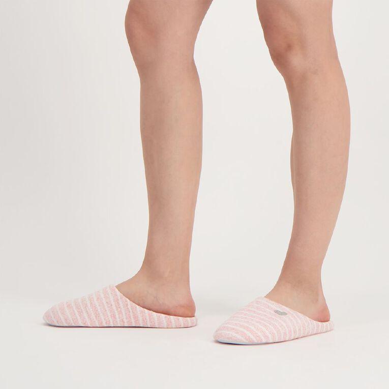 H&H Marl Stripe Slippers, Pink Light, hi-res